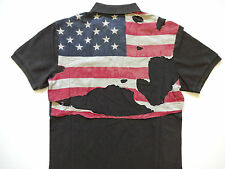 Ralph Lauren Denim and Supply Faded Black Destroyed Flag Polo Shirt L