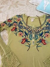 Sundance Catalog Small S Embroidered Green Henley Floral Lace Top Long Sleeve