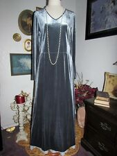 NWT VTG LAURA ASHLEY Velour Long Silver Grey Lady Winter Party Gown Dress L