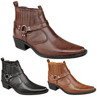Mens New Western Cuban Heel Ankle Cowboy Boots Black Brown Tan 6 7 8 9 10 11 12