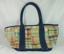 J. Crew Madras Plaid Patchwork Navy Canvas purse Tote Handbag Shoulder bag