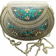 Vintage Handmade GreenMosaic Brass Metal Evening Boho Clutch Bag Purse US SELLER