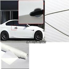"20""x50"" white Carbon Fiber Vinyl Car DIY Wrap Sheet Roll Film Sticker Decal NEW"