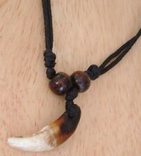 REAL AUTHENTIC GENUINE WOLF WOLVES TOOTH PENDANT NECKLACE DJUSTABLE BLACK CHORD