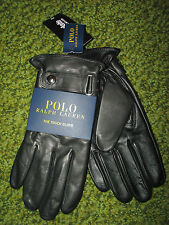 "Men's $88 POLO-RALPH LAUREN Black Nappa Leather Driving Gloves (M)  ""TOUCH"""