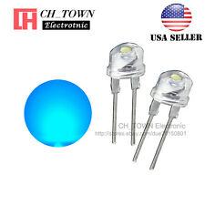 50pcs 8MM Water Clear Blue Light Straw Hat 0.5W LED Diodes Wide Angle USA