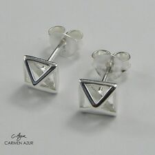 Solid 925 Sterling Silver Stud Earrings Open Pyramid Shape New with Gift Bag