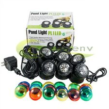 6-LED Super Bright Outdoor Underwater Pond Fountain Spot Light Kits 4-color Lens