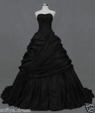 Black Strapless Taffeta Ball Gown Bridal Gown Gothic Wedding Dress for Halloween