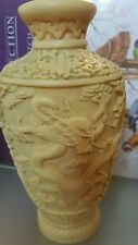 Vintage Chinese Carved Dragon Design Resin Cinnabar Style Vase -Italy -Norleans