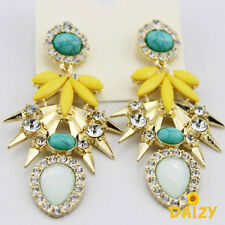 NEW RETRO ART DECO YELLOW GREEN GOLD DANGLE LONG EARRINGS - FUNKY BLING SPRING