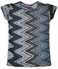 Girls Short Sleeved Geometric Print T Shirt New Kids Summer Tops Ages 5-13 Years