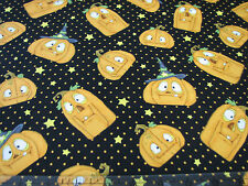 3 Yards Quilt Cotton Fabric- Henry Glass Jeepers Pumpkins Jack o Lanterns Blk