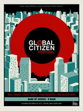 2012 GLOBAL CITIZEN FESTIVAL SILK SCREEN CONCERT POSTER FOO FIGHTERS 9/29 30 S/N