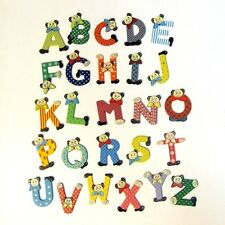 Wooden Letters Bear Design Painted Mixed Colours Decorate Personalise by Name