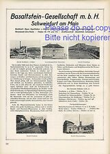 Basaltstein Gesellschaft Schweinfurt XL Reklame 1927 Nordheim Oberriedenberg +