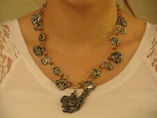 Jasper Carved Cheetah Necklace with Quartz Faceted Citrine Beads & Toggle Clasp