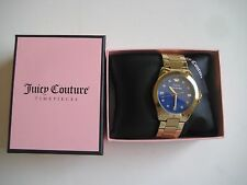 Juicy Couture 1901120 Women's Royal Blue Dial Jeweltone Goldtone Band Watch $195