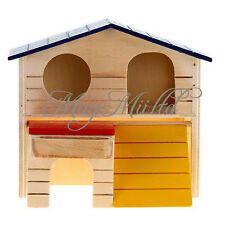 Wooden Bed House Cage Dual Layer Villa for Rat Hamster Mouse Fashion Y