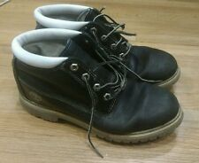 Men's Timberland Black White Leather Boots 9M Good condition 5.5 in.