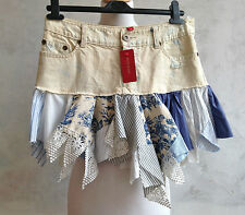 NEW + TAGS-RIVER ISLAND Cream Denim Patchwork Hanky Hem Short Mini Skirt Small 8