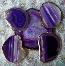 Purple Agate Slice Cheese Tray Platter And Wine Glass Coasters 18k Gold Leaf