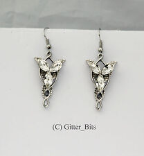 Arwen Evenstar Earrings Silver Dangle LOTR Lord of the Rings Hobbit Elven Elvish