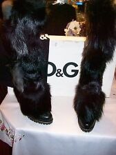 NEW DOLCE & GABBANA $1,600 BLACK KNEE HI  FUR  HIGH  HEEL BOOTS  SIZE 40  (US 9)