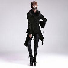 Womens Frock Coat Jacket winter Black Velvet Gothic Fur Collar Devil Fashion