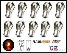10 CHROME SILVER AMBER REAR INDICATOR BULBS 343 BAU15S PY21W TURN SIGNAL S25 12V