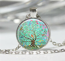 New Tree Cabochon Tibetan silver Glass Chain Pendant Necklace XC35