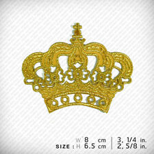 """"""" Crown """" Gold PATCH IRON ON, Fancy Clothes Decorate D.I.Y Craft"""