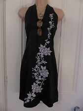 Topshop size 8 BNWT halterneck black dress silver embroidered flowers RRP £40