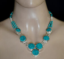 Ethnic Real Turquoise Sterling Silver  Necklace Tribal Fashion Jewelry UDD2