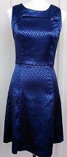 MOSTLY DRESSES 'TARGET' SLEEVELESS COBALT BLUE/BLACK BROCADE PATTERN DRESS 10