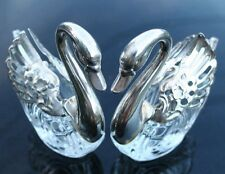 Vintage Pair Crystal Swans Movable Wings Open Salt Cellars with Spoons Italy VGC