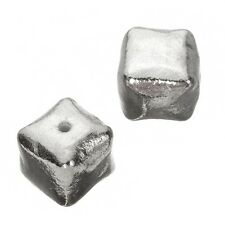 Large Bright Silver Smooth Metal Cube Beads 16mm Pakc of 2 (C55/13)