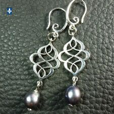 ♥ Elegant Genuine Natural Charcoal Baroque Pearls Plated Silver Earrings