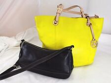 Lot Authentic MICHAEL KORS Yellow Leather Tote Shoulder Bag w/ Coach Black Purse