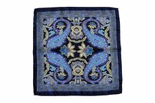 Battisti Pocket Square Navy with blue/turquoise paisley, pure silk
