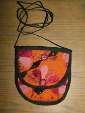 NEW HANDMADE EMBROIDERED INDIAN FOLD-OVER ORANGE/BLACK BEACH PURSE -BOHO HIPPIE