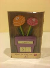 Russ Berrie Handcrafted Flower Pot Desk Calendar
