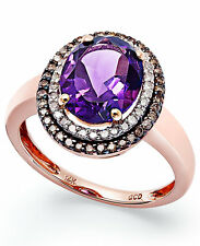 NEW!! Amethyst and Diamond Ring in 14k Rose Gold
