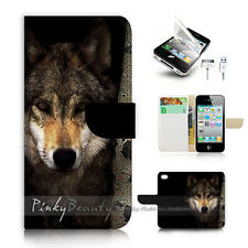 iPhone 4 4S Flip Wallet Case Cover! P0784 Wolf