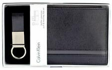 NEW CALVIN KLEIN CK MEN'S LEATHER WALLET ID BOOKFOLD KEY FOB KEYCHAIN SET 79485