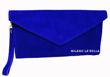 Royal Blue Large Envelope Clutch Evening Genuine Real Suede Leather Shoulder Bag