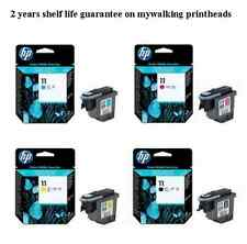 PACK OF 4 HP 11 PRINTHEADS C4810A C4811A C4812A C4813A BLACK CYAN MAGENTA YELLOW