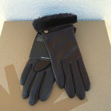 UGG CLASSIC BROWN LEATHER/ SHEEPSKIN TOUCH SCREEN SMART GLOVES ~ M ~ NWT