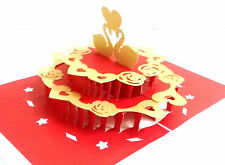 3D PopUp 2tier Cake Swans Love Anniversary Card Handmade Best Gift Husband Wife