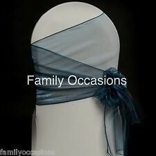 ORGANZA SASHES CHAIR COVER BOW 35cm EXTRA WIDE SASHES FOR A FULLER BOW 46COLOURS